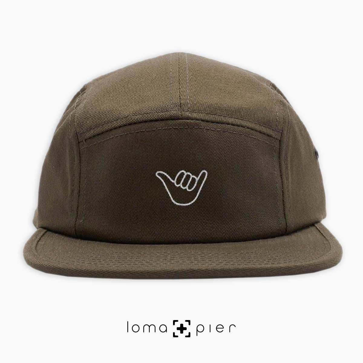 HANG LOOSE icon embroidered on an olive green cotton 5-panel hat by loma+pier hat store