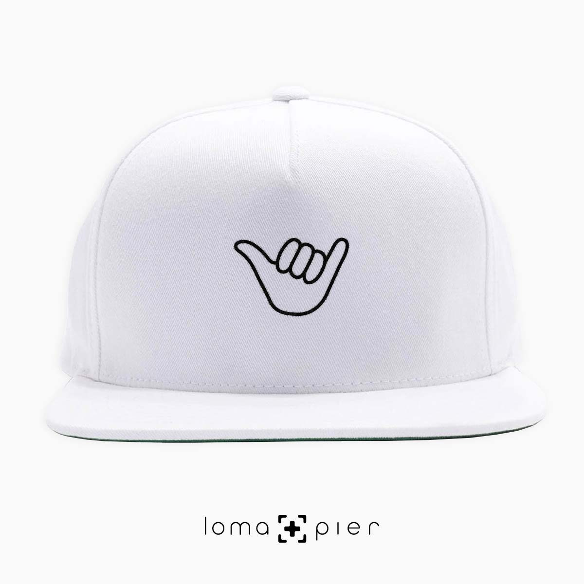 HANG LOOSE icon embroidered on a white classic snapback hat by loma+pier hat store