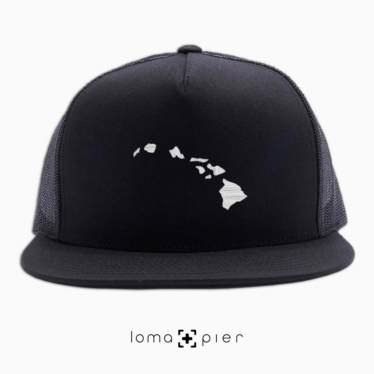 HAWAIIAN ISLANDS beach black netback trucker hat by loma+pier hat store