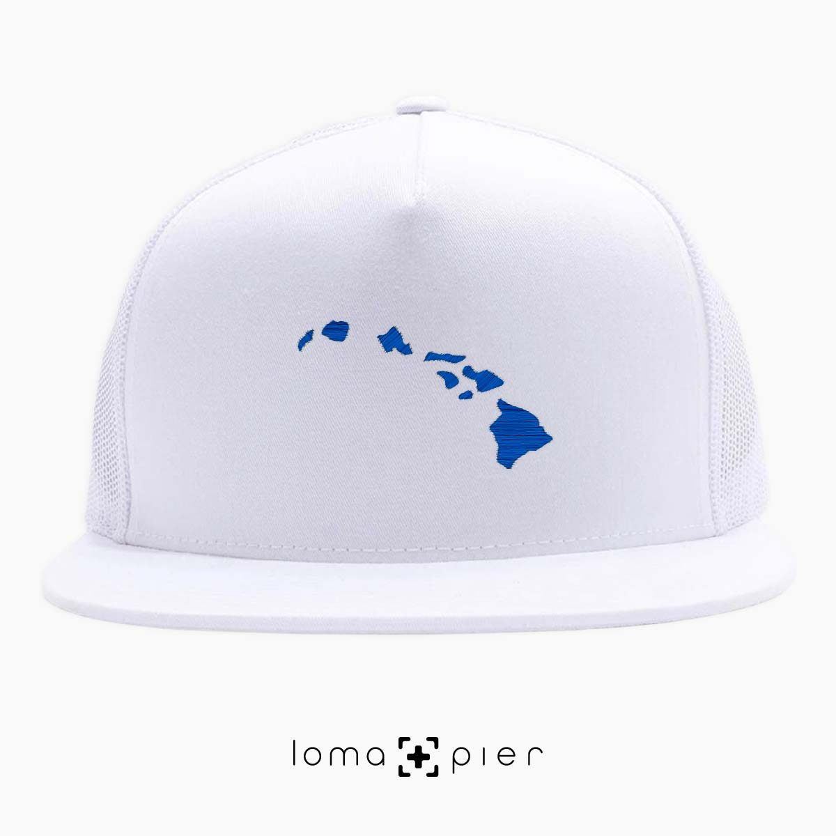 HAWAIIAN ISLANDS beach white netback trucker hat by loma+pier hat store