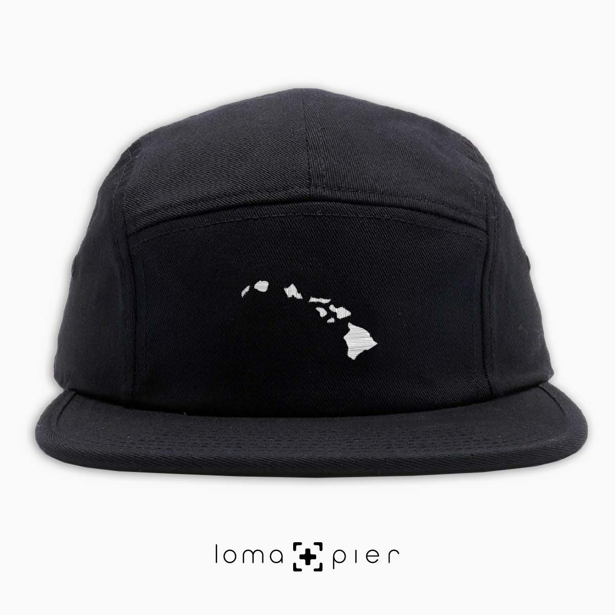HAWAIIAN ISLANDS icon embroidered on a black cotton 5-panel hat by loma+pier hat store