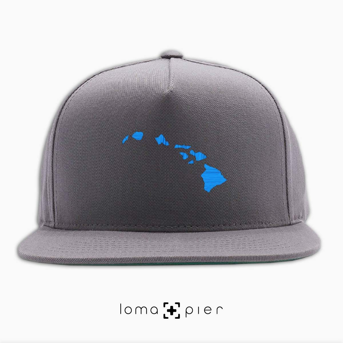 HAWAIIAN ISLANDS icon embroidered on a grey classic snapback hat by loma+pier hat store