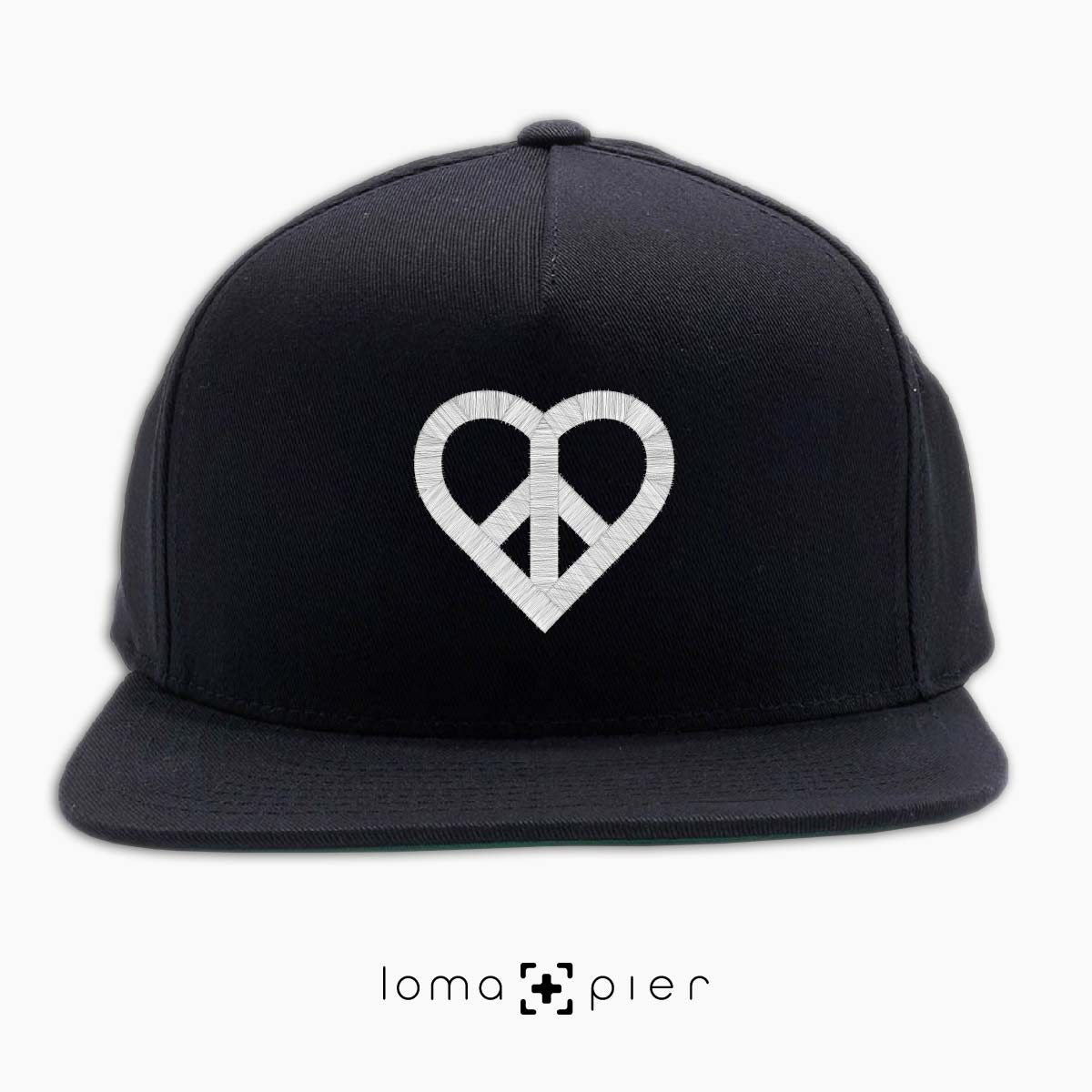 HEART and PEACE SIGN icon snapback hat by loma and pier hat shop