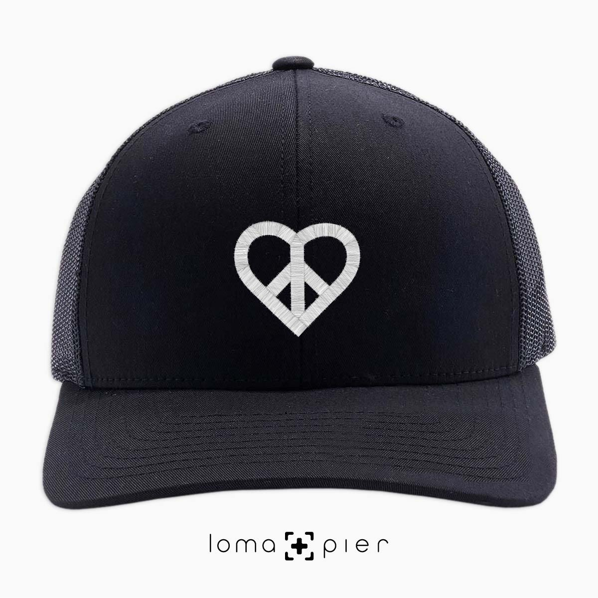HEART and PEACE SIGN icon netback trucker hat by loma and pier hat shop