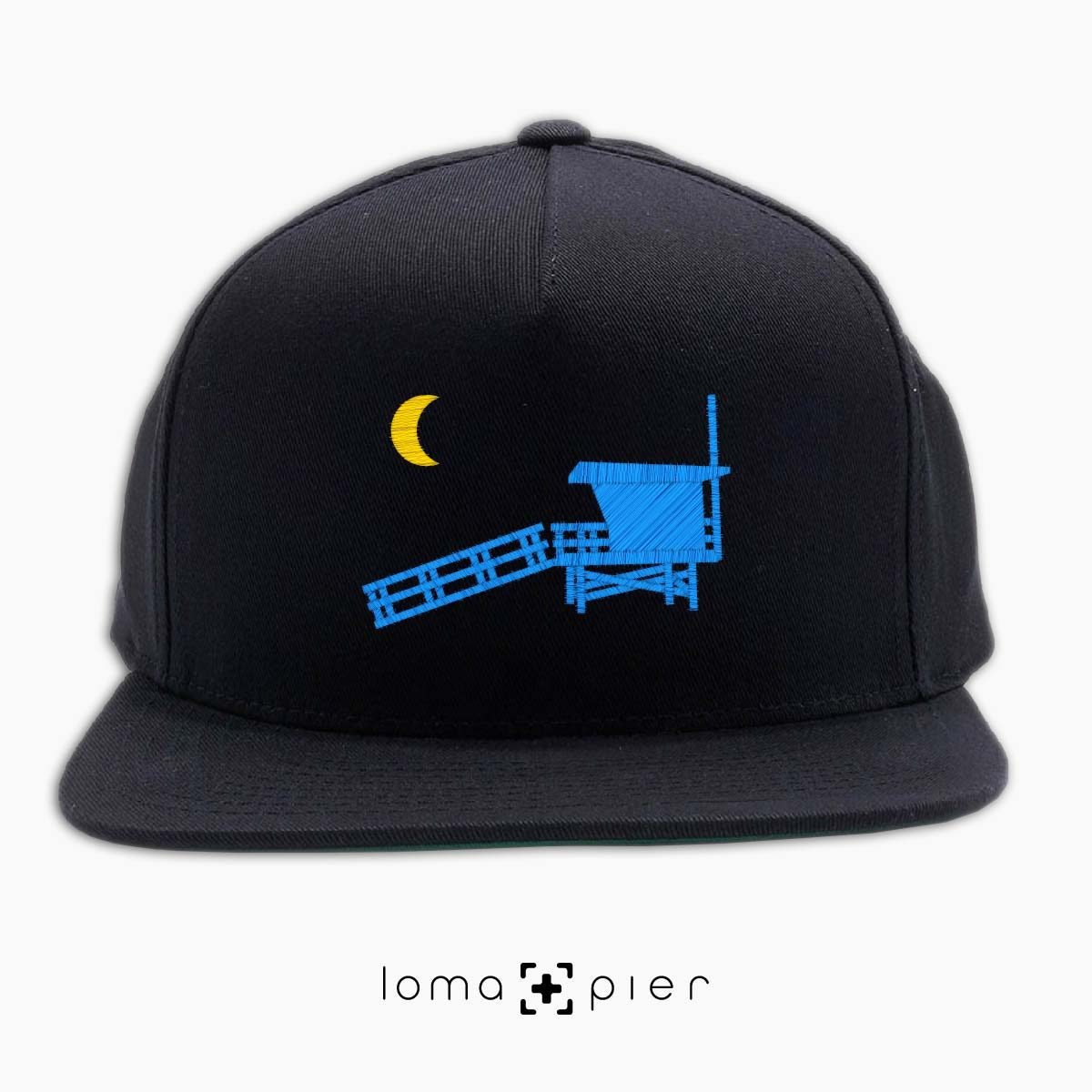 hermosa beach LIFEGUARD TOWER icon embroidered on a black classic snapback hat by loma+pier hat store