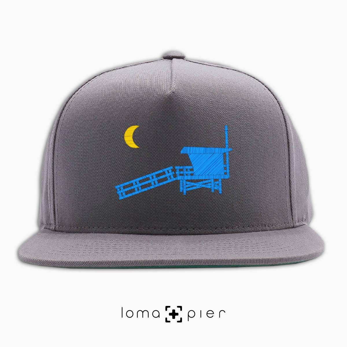 hermosa beach LIFEGUARD TOWER icon embroidered on a grey classic snapback hat by loma+pier hat store