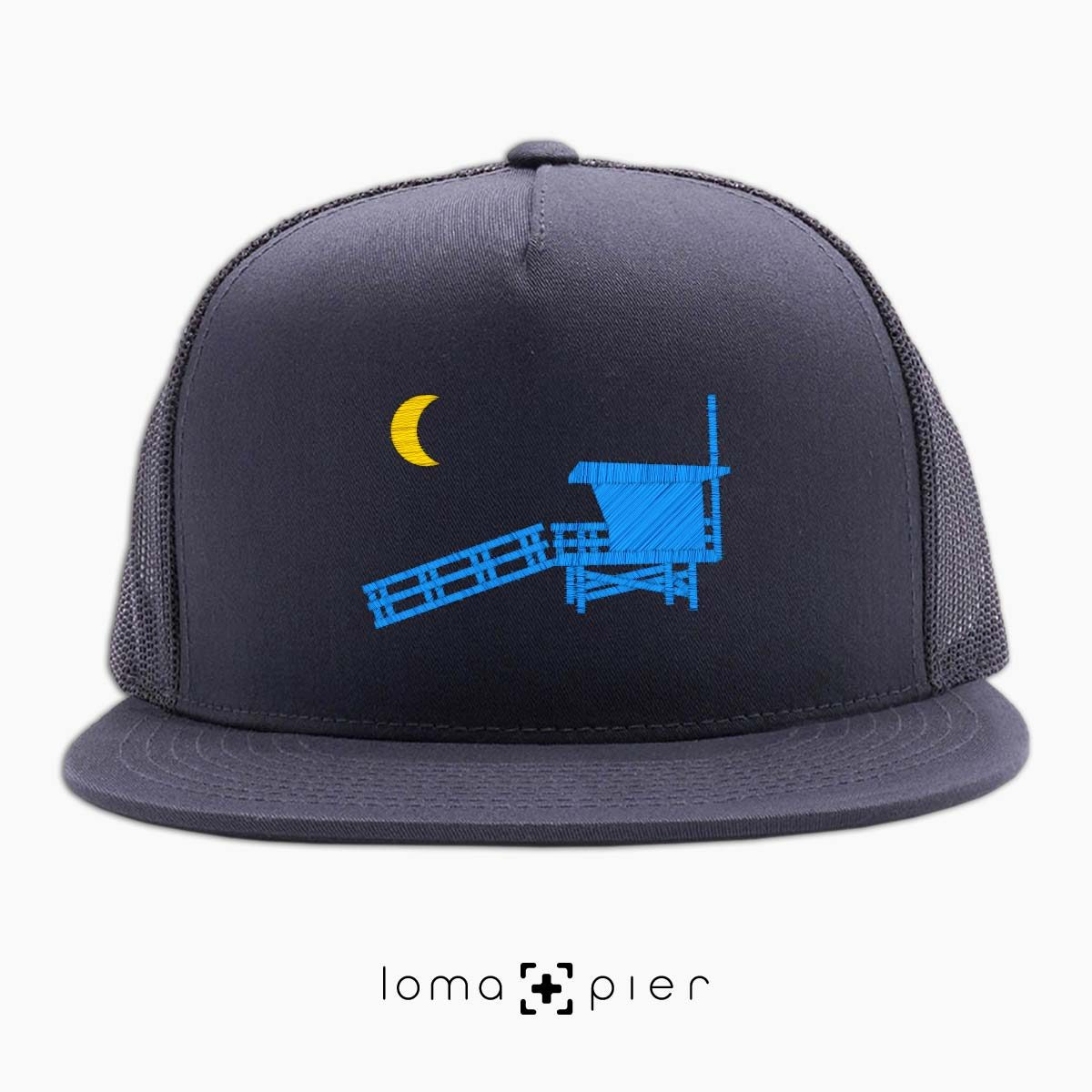 hermosa beach LIFEGUARD TOWER icon charcoal netback trucker by loma+pier hat store
