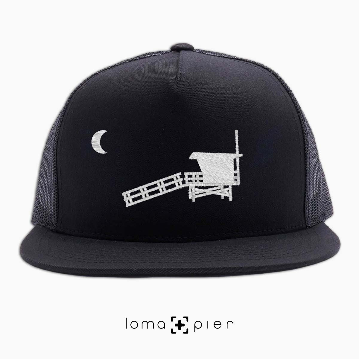 hermosa beach LIFEGUARD TOWER icon black netback trucker by loma+pier hat store