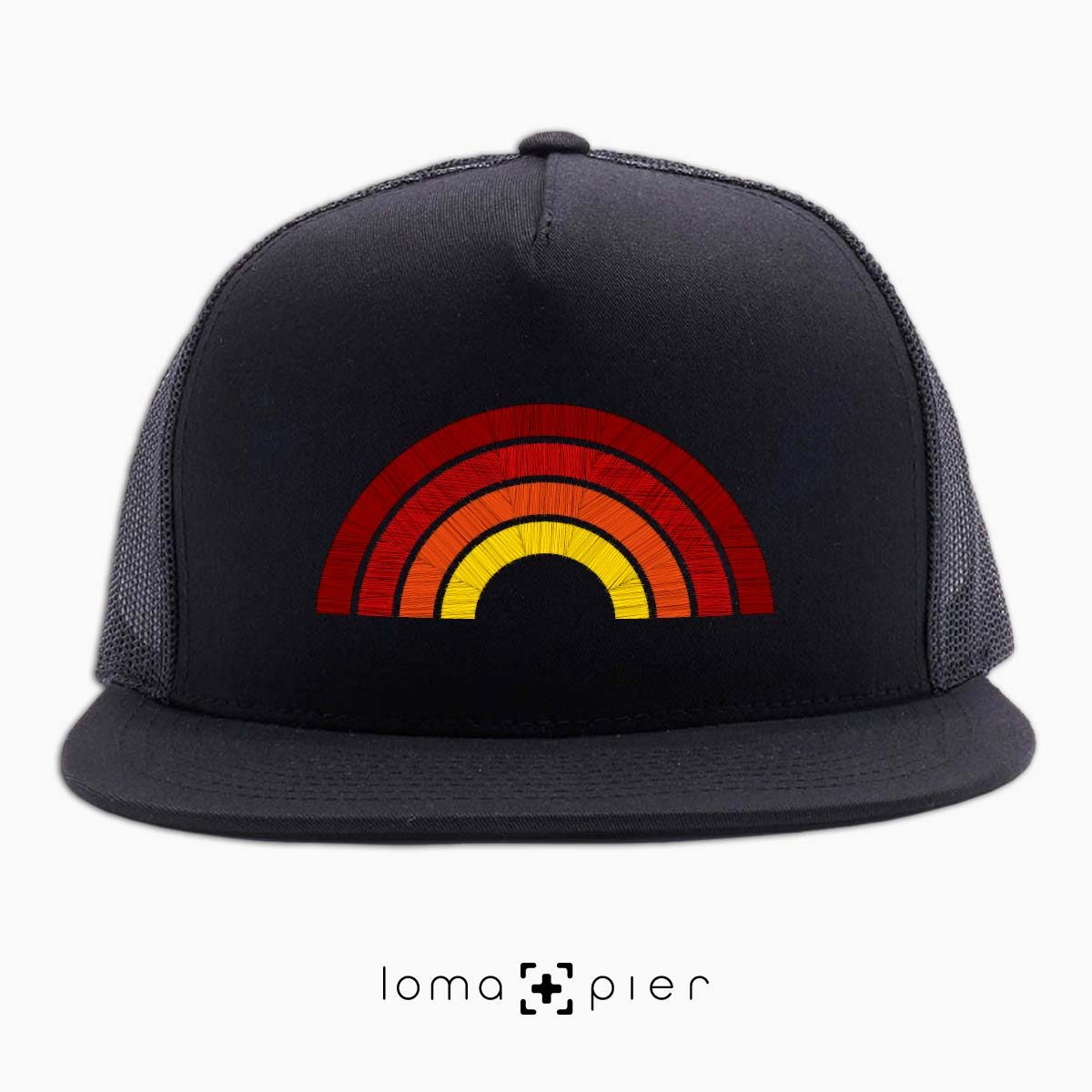 hermosa BEACH RAINBOW netback hat in black by loma+pier hat store