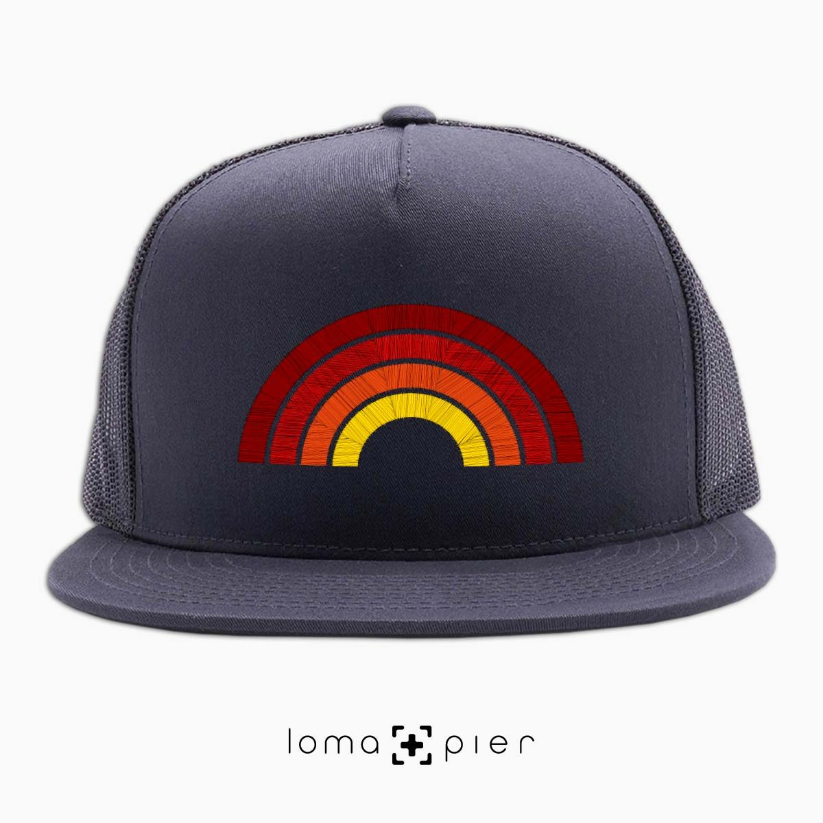 hermosa BEACH RAINBOW netback hat in charcoal by loma+pier hat store