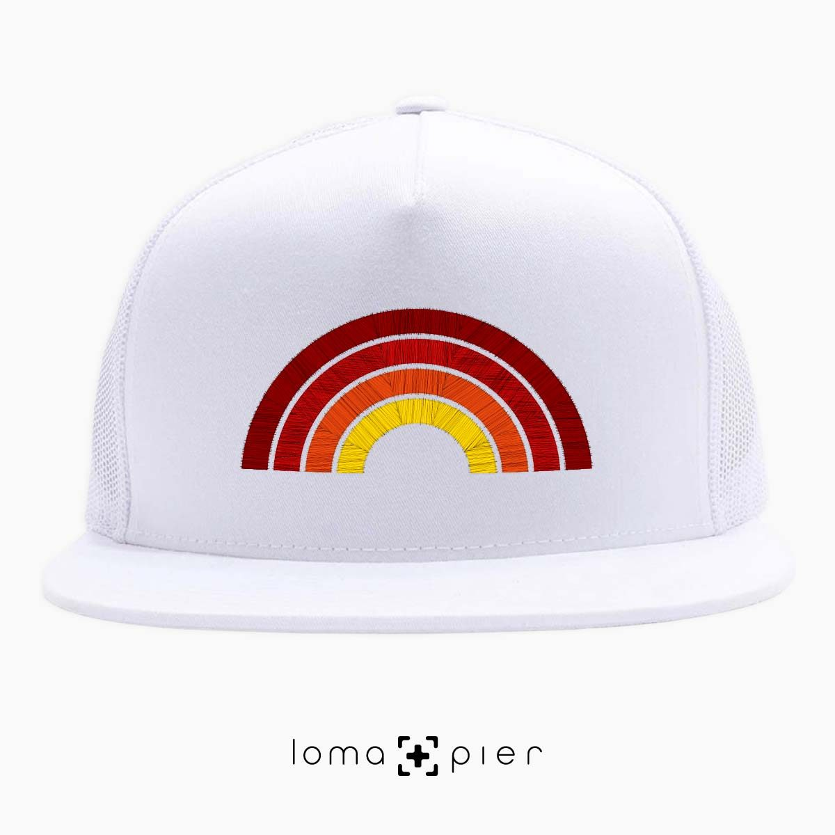 hermosa BEACH RAINBOW netback hat in white by loma+pier hat store