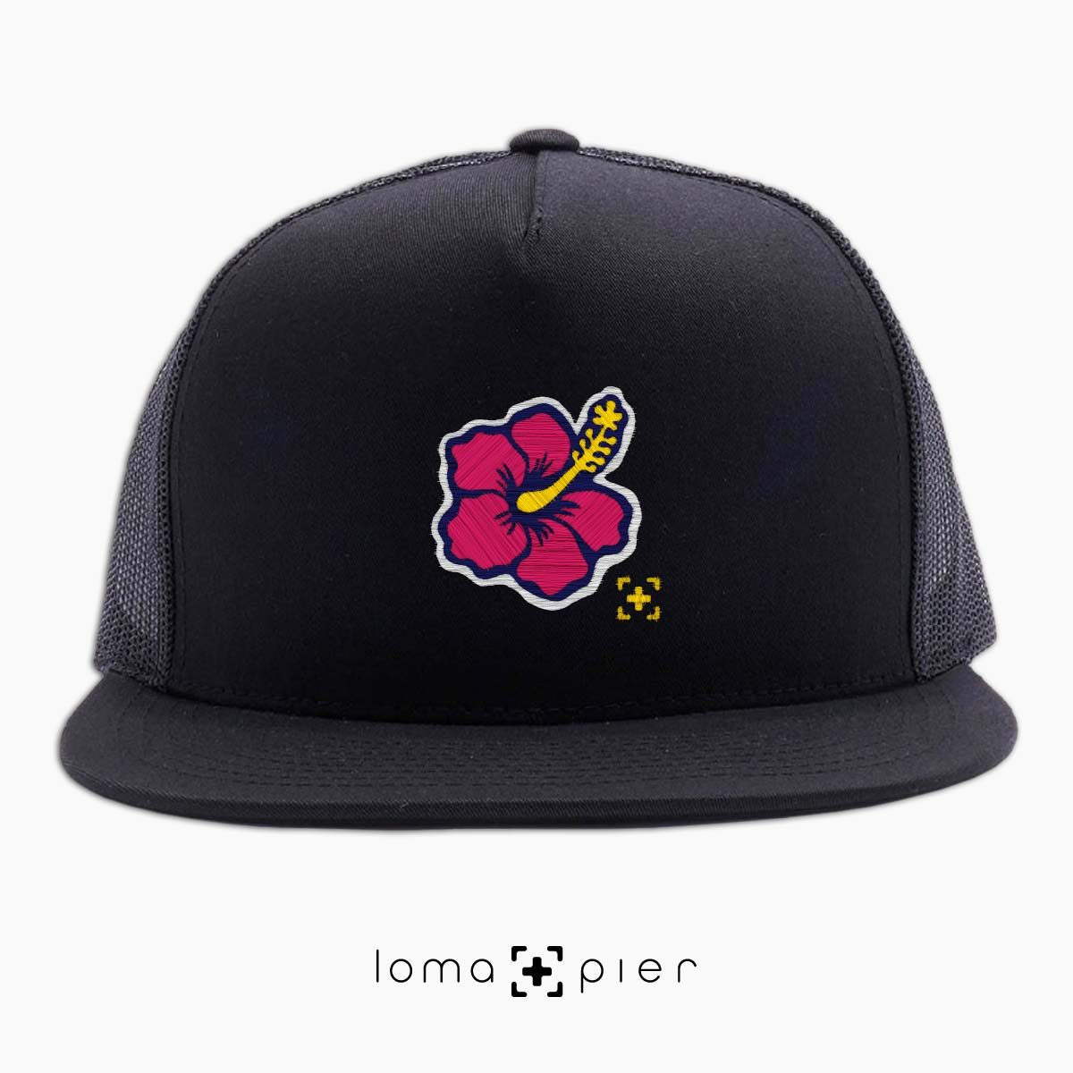 hibiscus hawaiian flower icon beach trucker hat in black by lomapier hat store
