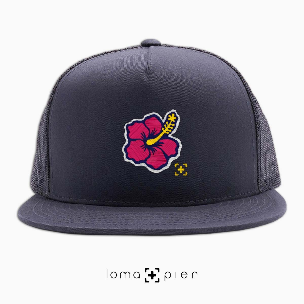 hibiscus hawaiian flower icon beach trucker hat in charcoal by lomapier hat store