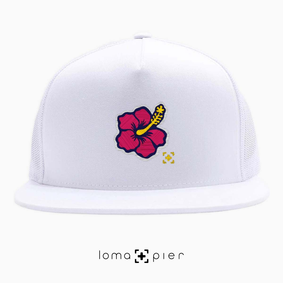hibiscus hawaiian flower icon beach trucker hat in white by lomapier hat store