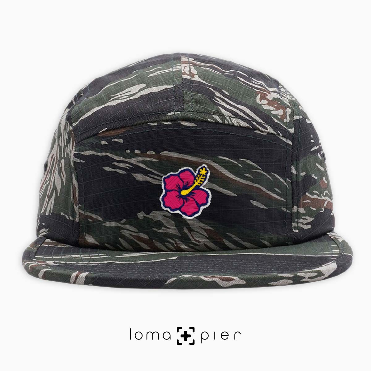 hibiscus hawaiian flower icon 5-panel hat in camo by loma+pier hat store