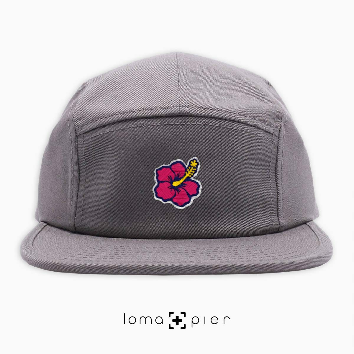hibiscus hawaiian flower icon 5-panel hat in grey by loma+pier hat store