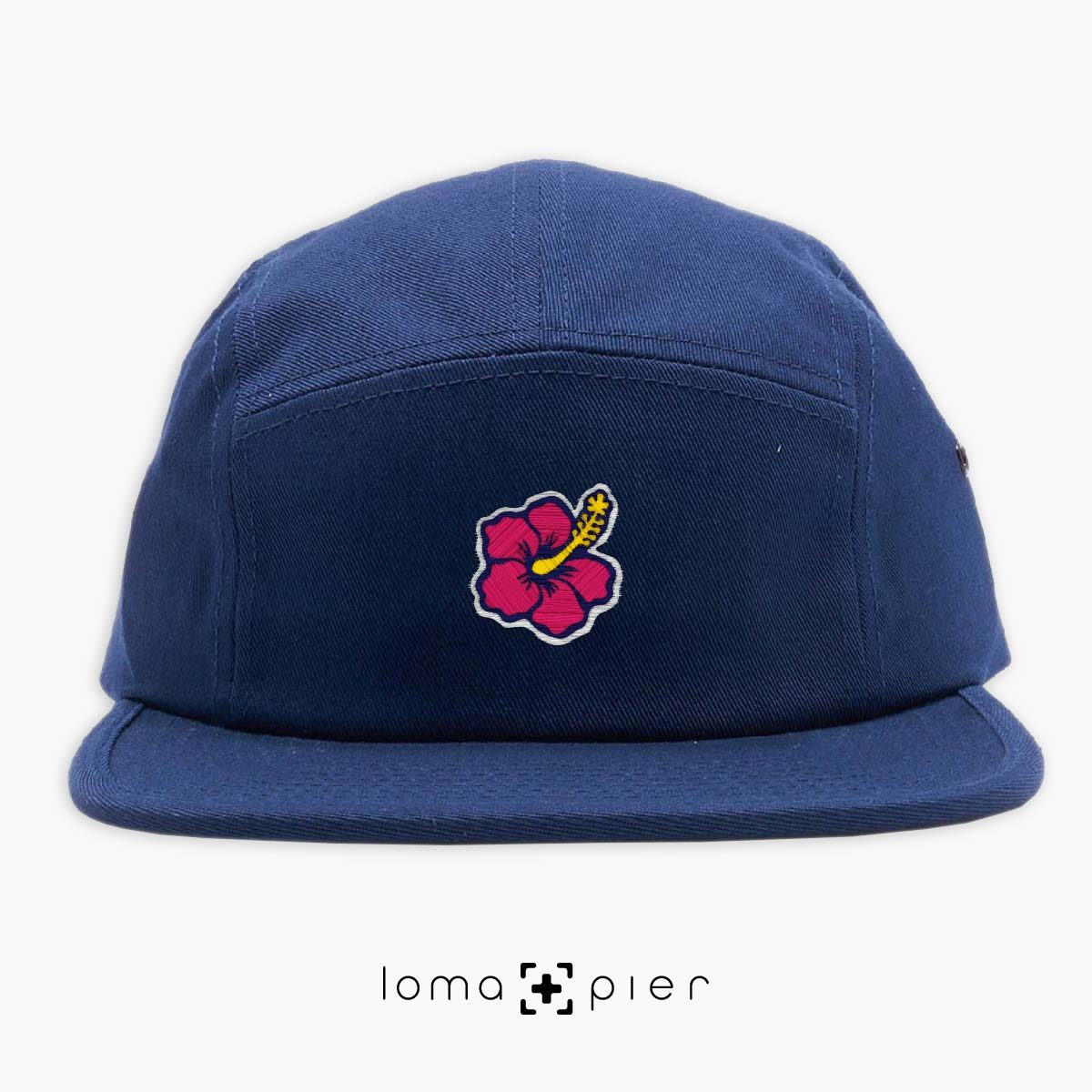 hibiscus hawaiian flower icon 5-panel hat in navy blue by loma+pier hat store