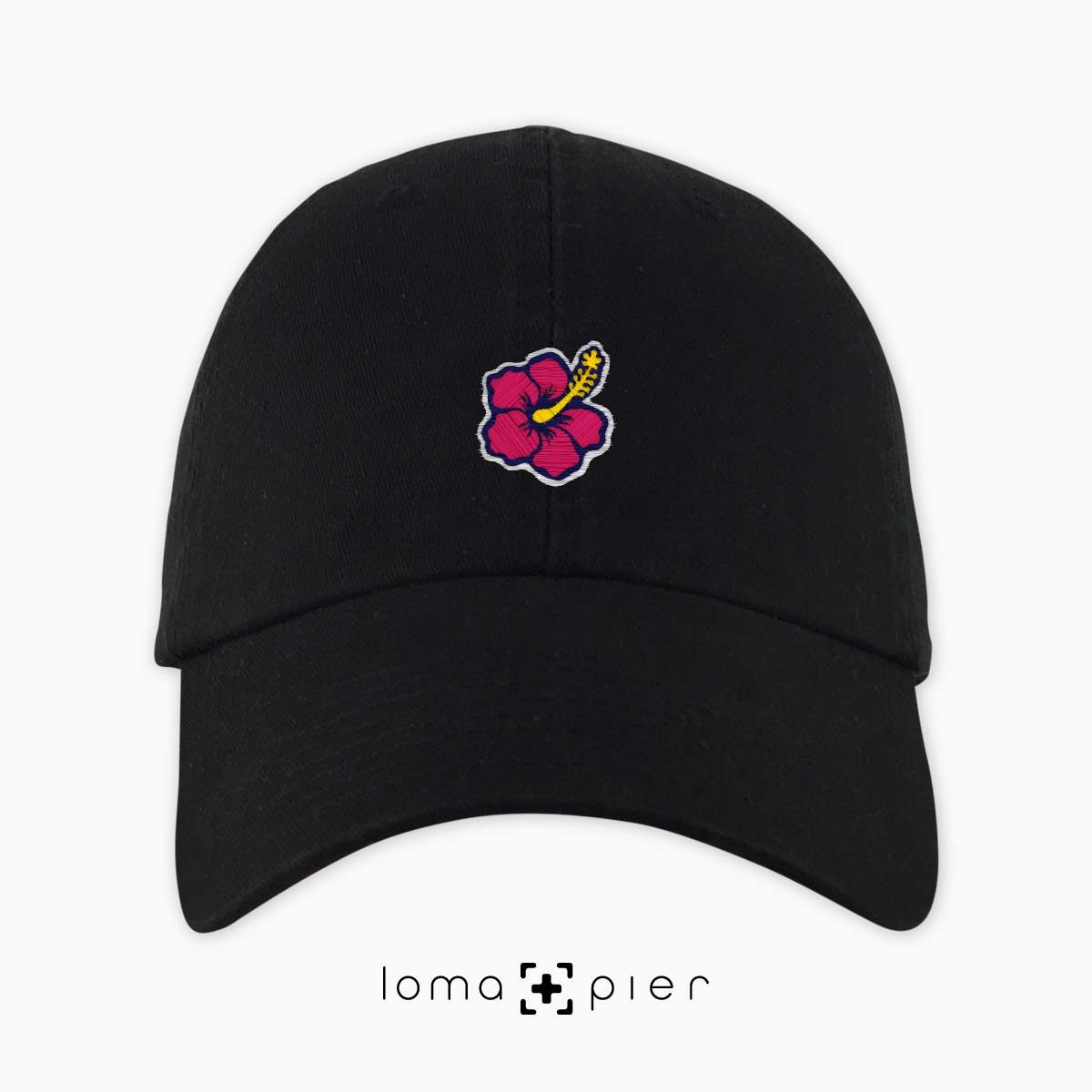 hibiscus hawaiian flower icon dad hat in black by loma+pier hat store