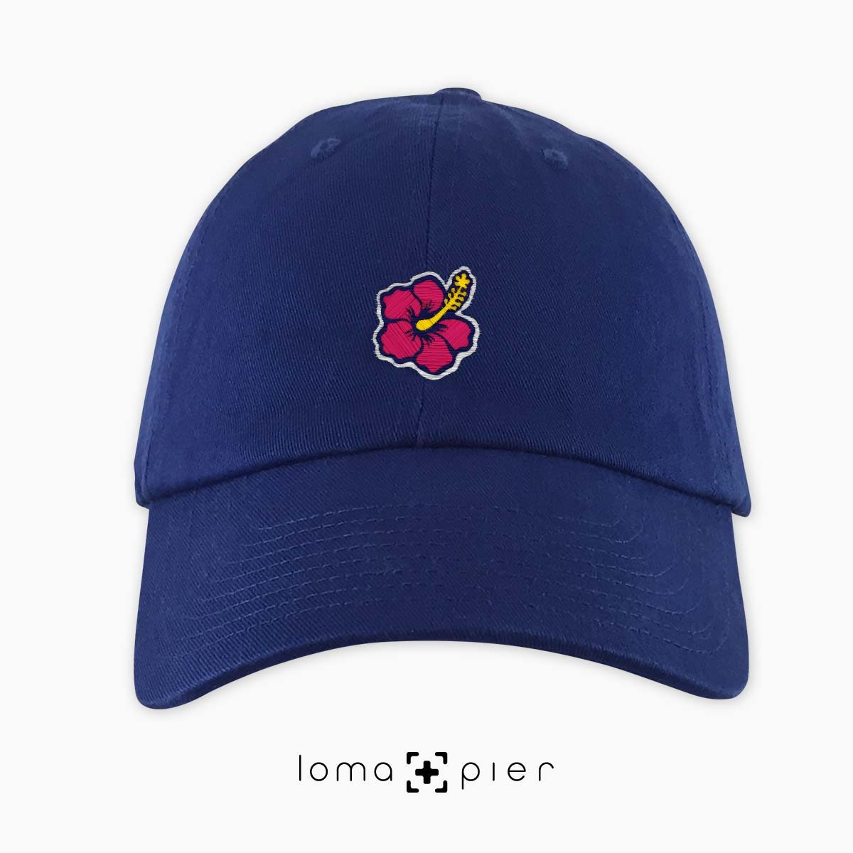 hibiscus hawaiian flower icon dad hat in royal blue by loma+pier hat store