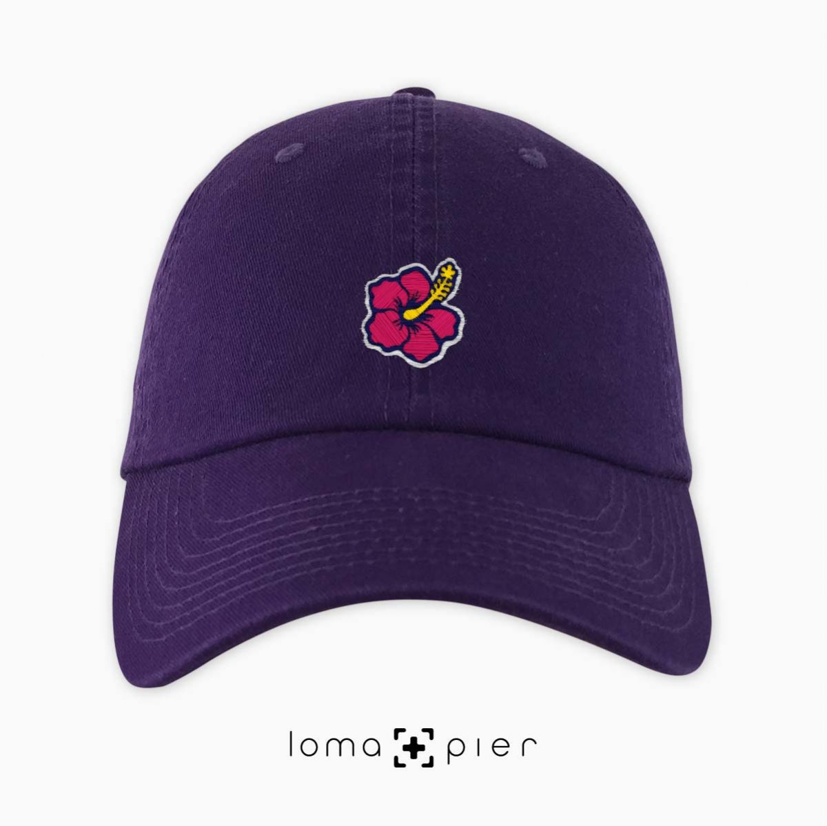 hibiscus hawaiian flower icon dad hat in purple by loma+pier hat store