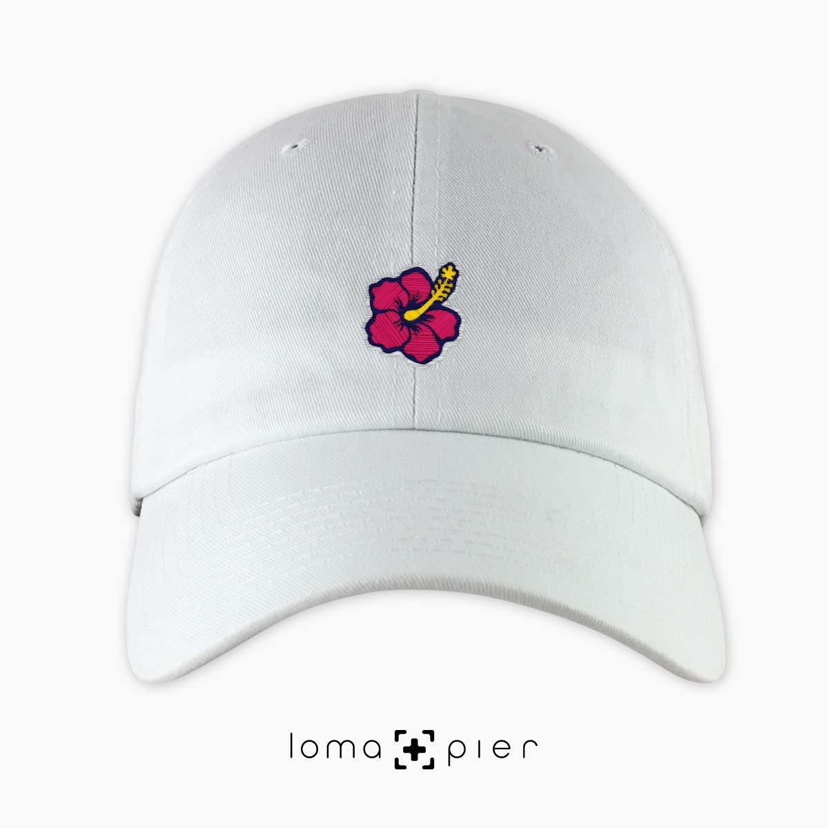 hibiscus hawaiian flower icon dad hat in white by loma+pier hat store