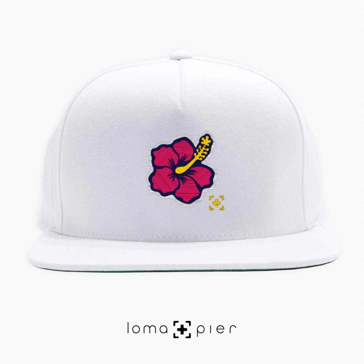 hibiscus hawaiian flower icon snapback hat in white by lomapier hat store