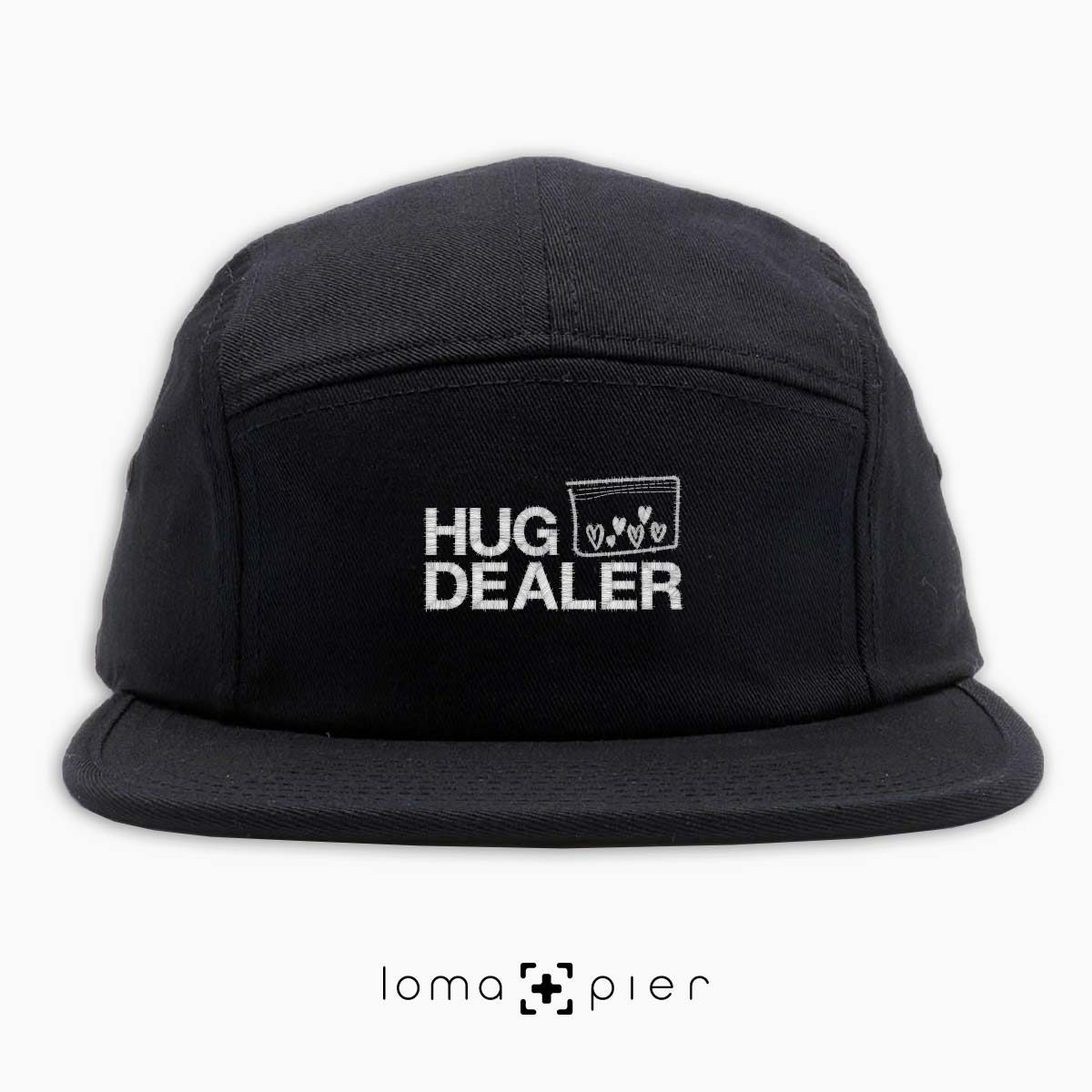 HUG DEALER icon embroidered on a black cotton 5-panel hat with white thread by loma+pier hat store