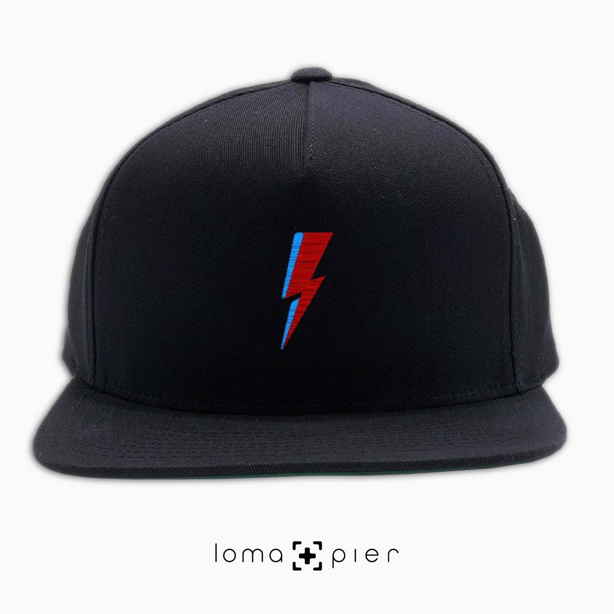 LIGHTNING BOLT icon embroidered on a black classic snapback hat with multicolor thread by loma+pier hat store