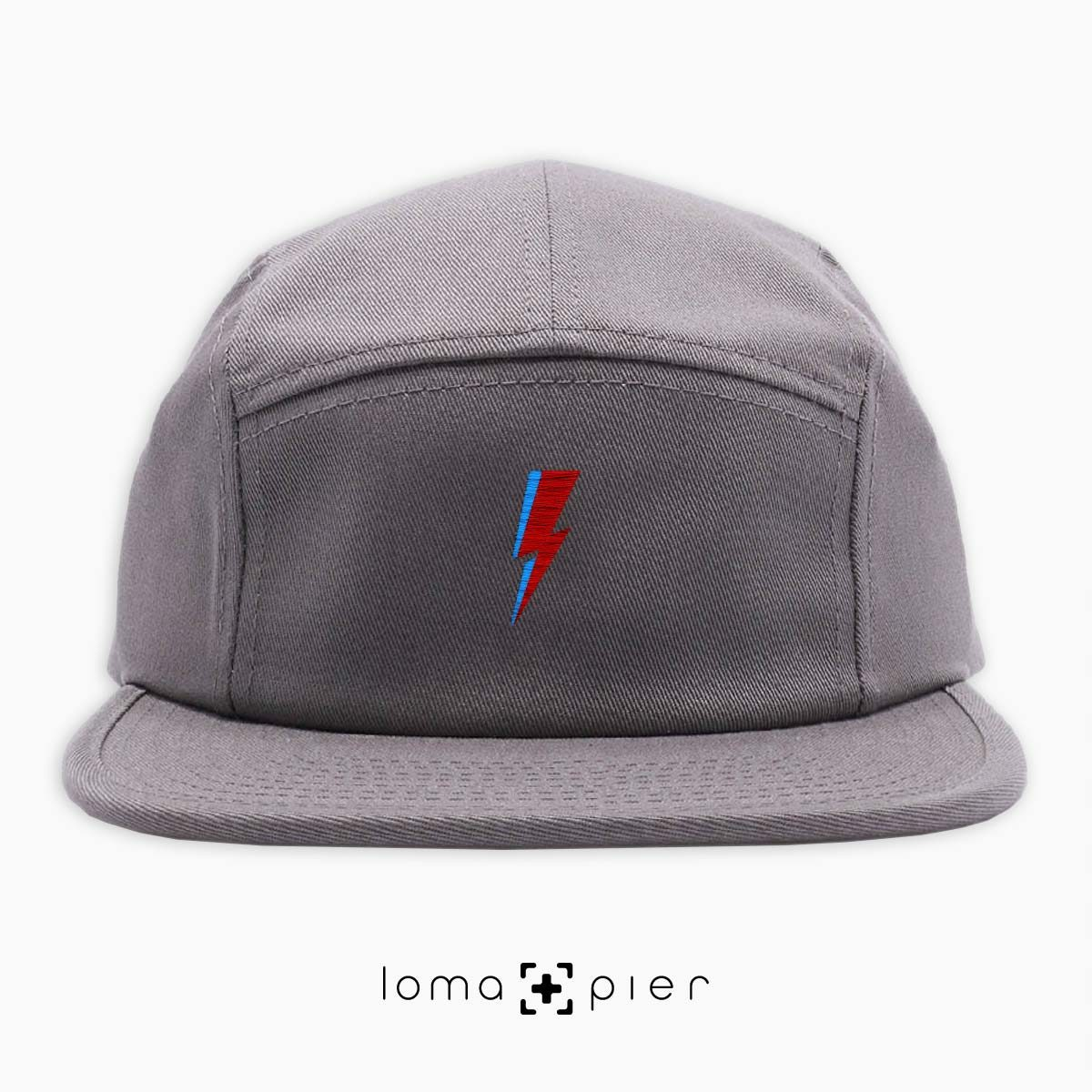 LIGHTNING BOLT icon embroidered on a grey cotton 5-panel hat with multicolor thread by loma+pier hat store