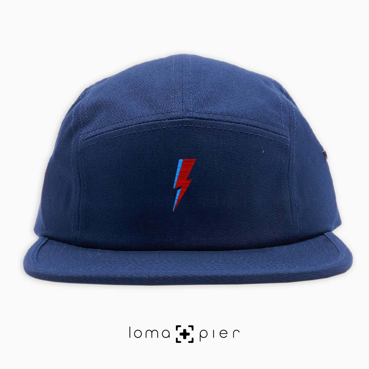 LIGHTNING BOLT icon embroidered on a navy blue cotton 5-panel hat with multicolor thread by loma+pier hat store