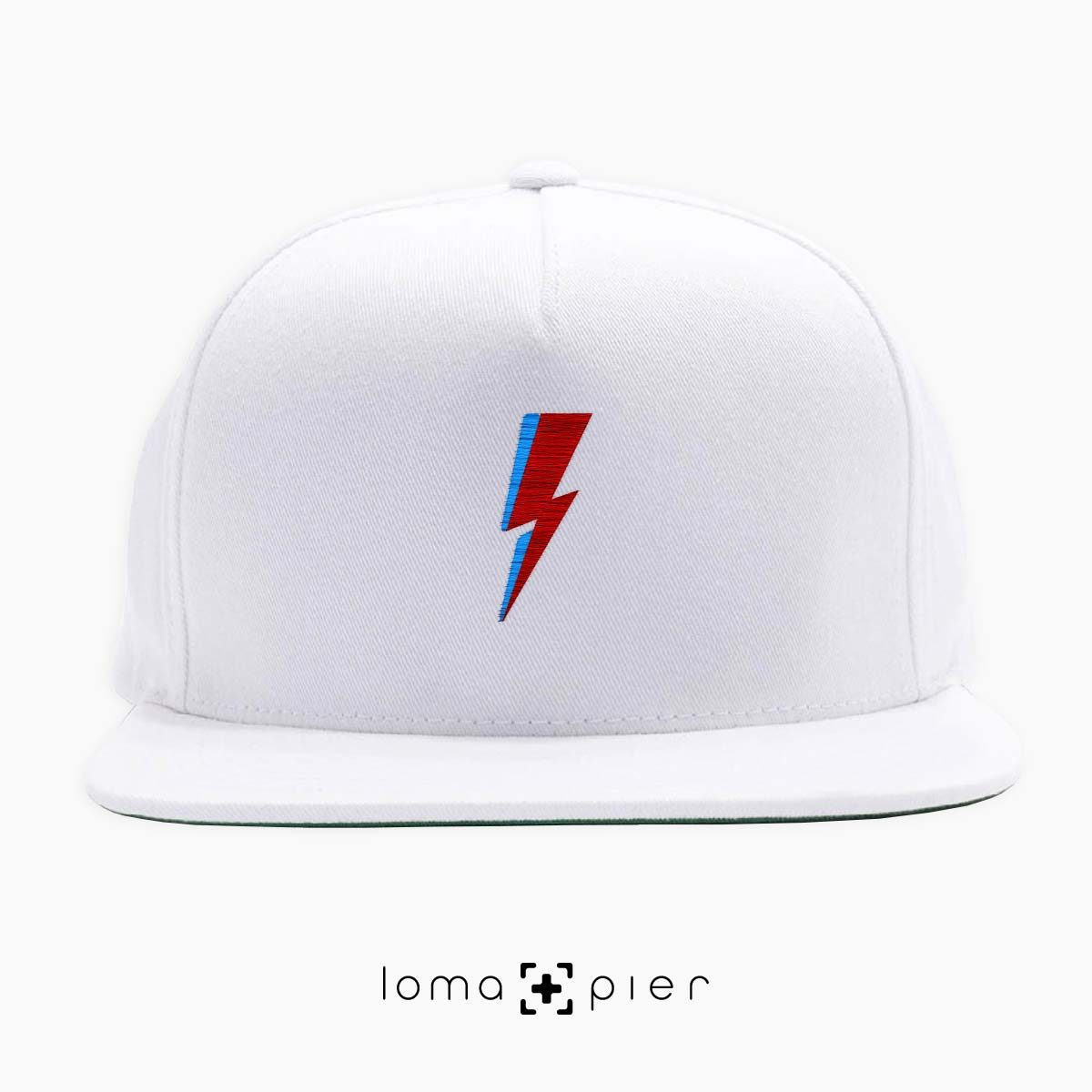 LIGHTNING BOLT icon embroidered on a white classic snapback hat with multicolor thread by loma+pier hat store