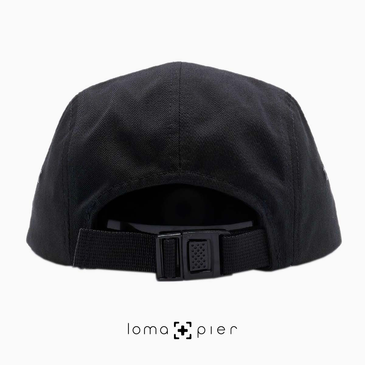 back black cotton 5-panel hat by loma+pier hat store