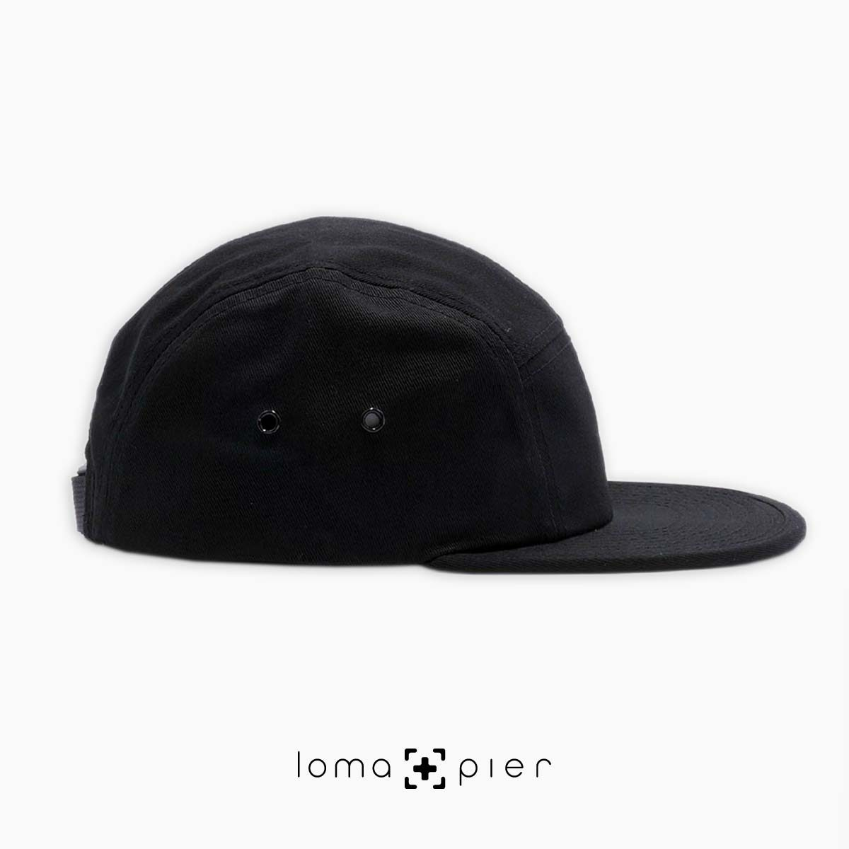 right side of black cotton 5-panel hat by loma+pier hat store