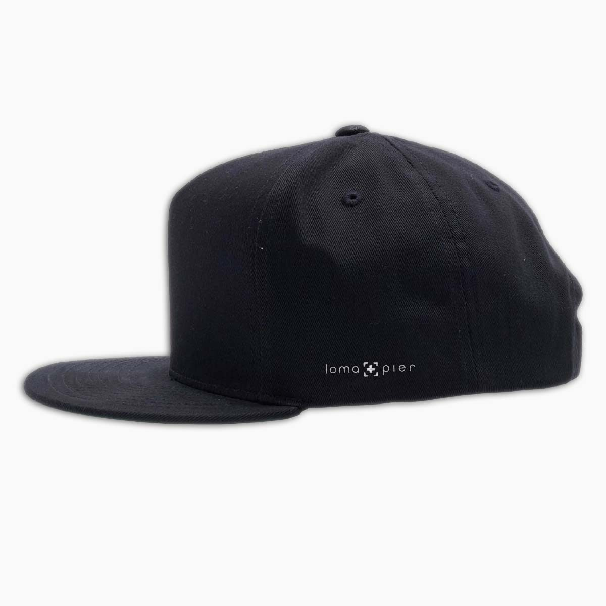 loma+pier left side logo on a black classic snapback hat with white thread by loma+pier hat store