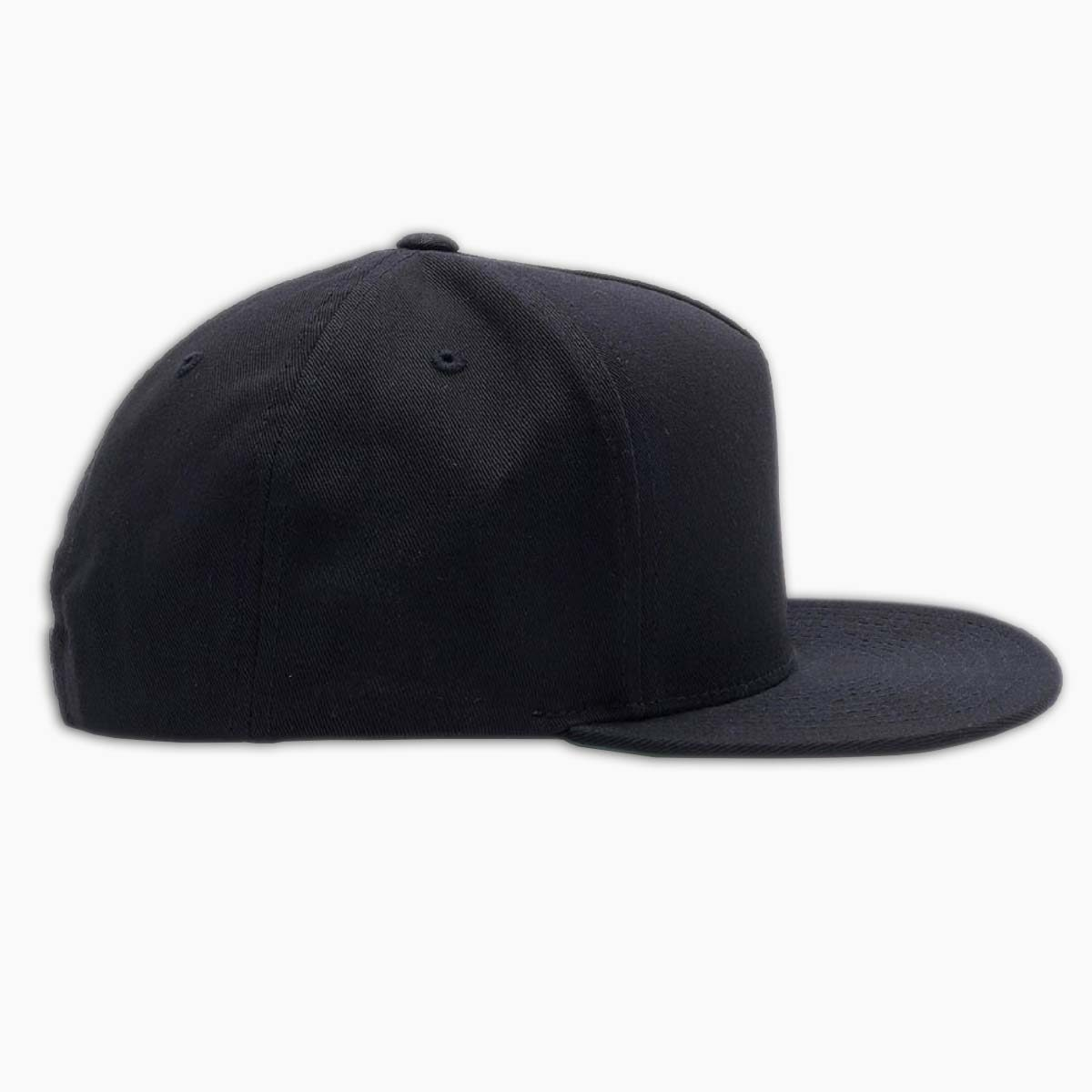 right side of black classic snapback hat by loma+pier hat store