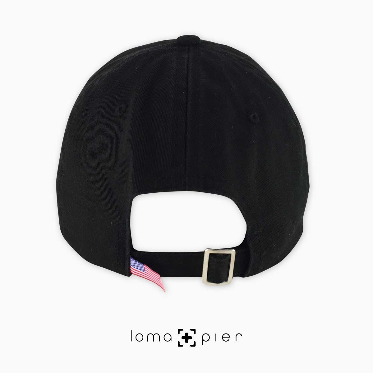 back of black unstructured dad hat by loma+pier hat store made in the USA