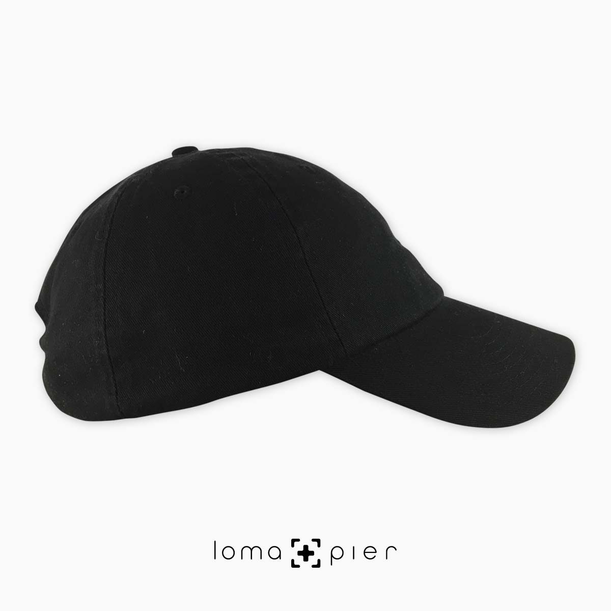 right side of black unstructured dad hat by loma+pier hat store made in the USA