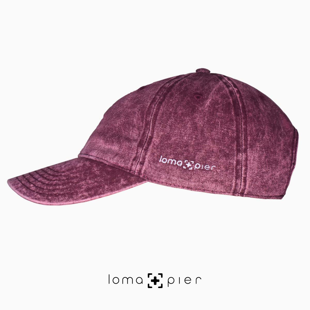 maroon washed out vintage dad hats with loma and pier logo