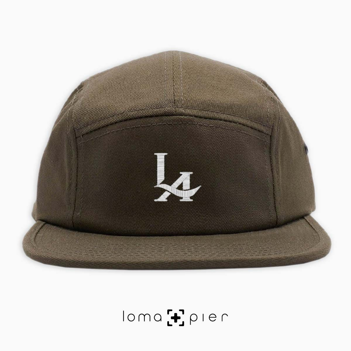 los angeles LA LOGO embroidered on an olive green cotton 5-panel hat by loma+pier hat store