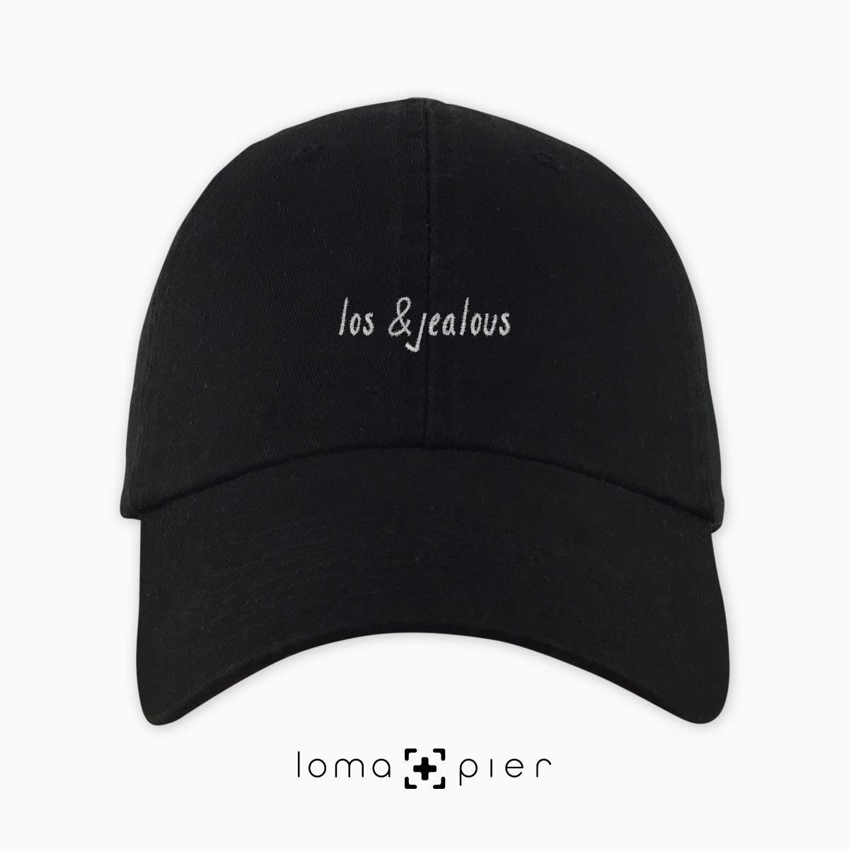 LOS &JEALOUS typography embroidered black dad hat white thread loma+pier hat store made in USA