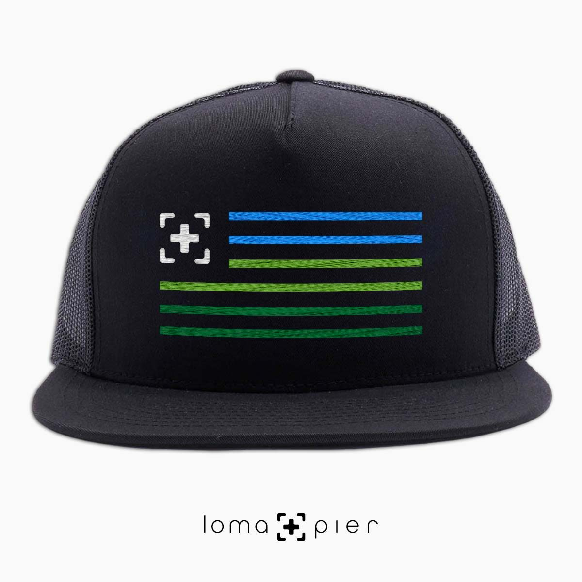 loma+stripes beach netback hat in black by loma+pier hat store
