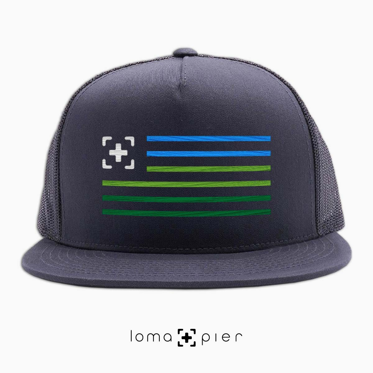loma+stripes beach netback hat in charcoal by loma+pier hat store