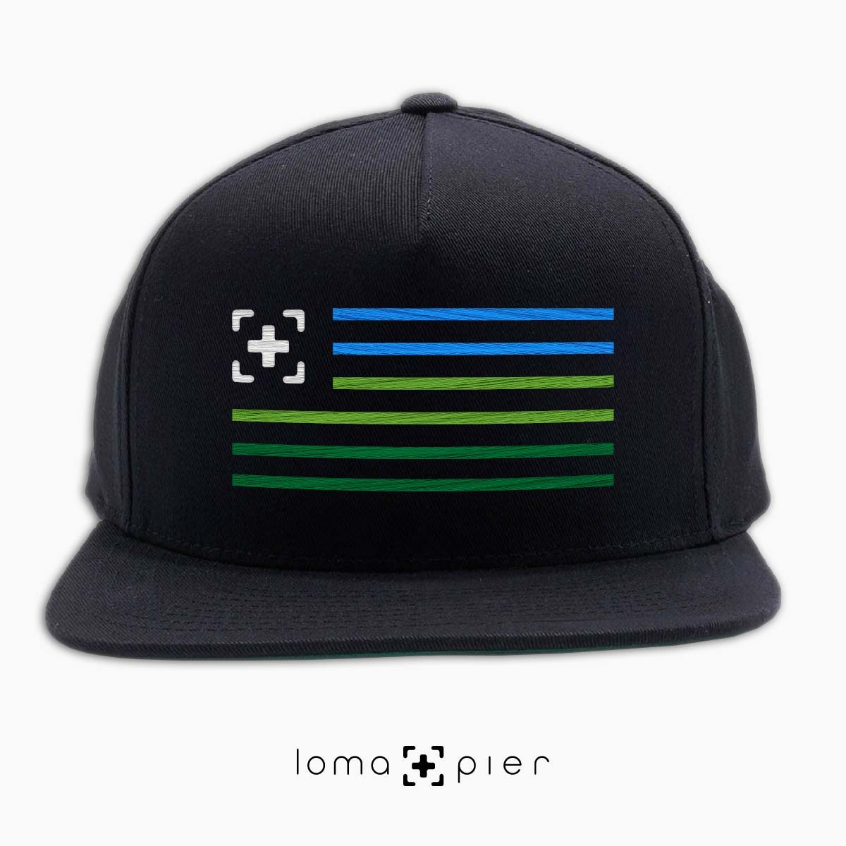 loma+stripes icon embroidered on a black classic snapback hat by loma+pier hat store