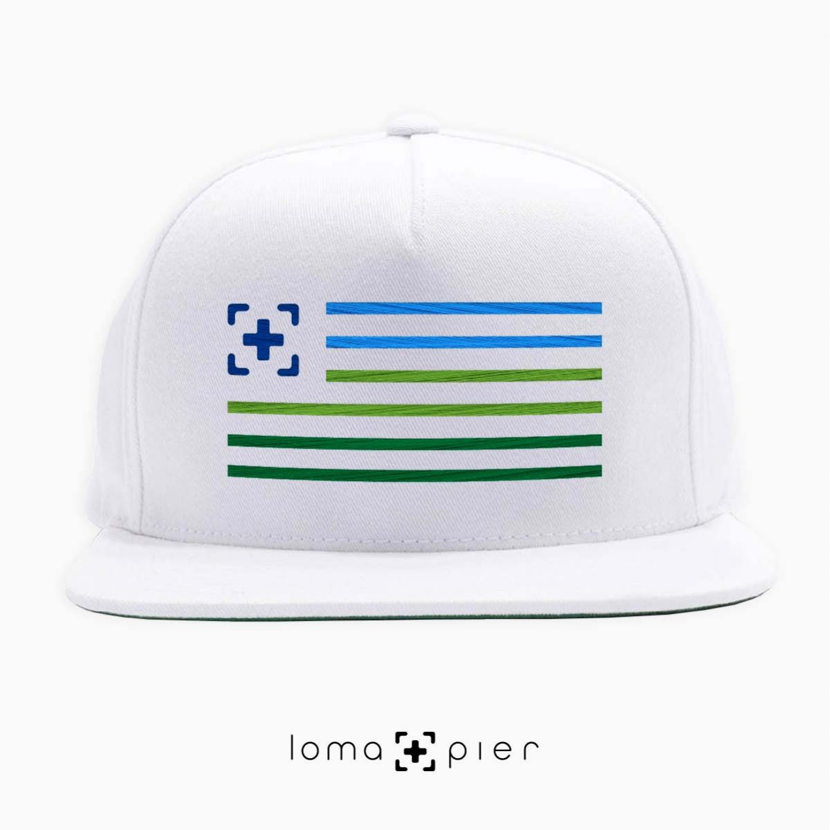loma+stripes icon embroidered on a white classic snapback hat by loma+pier hat store