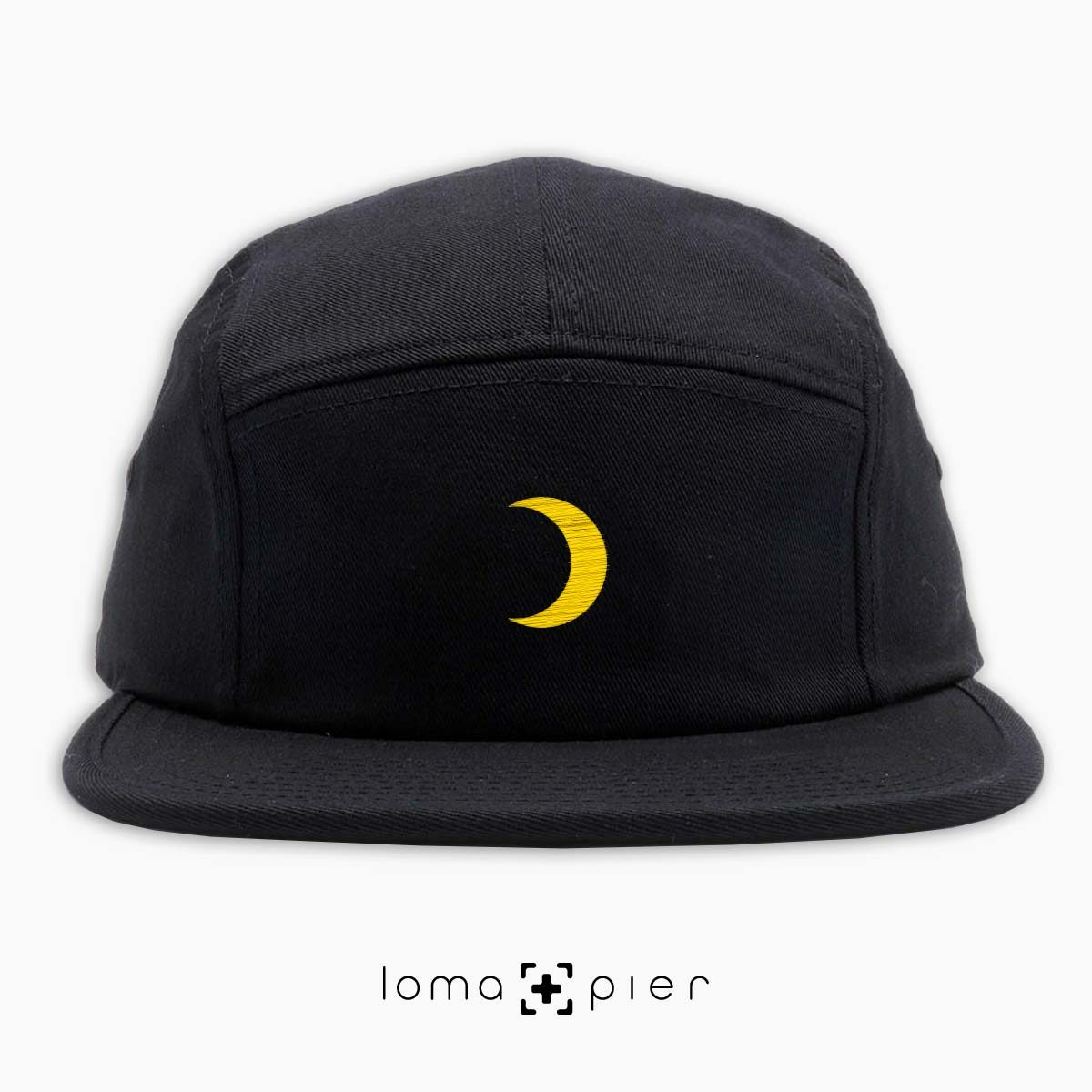 MOON icon embroidered on a black cotton 5-panel hat by loma+pier hat store