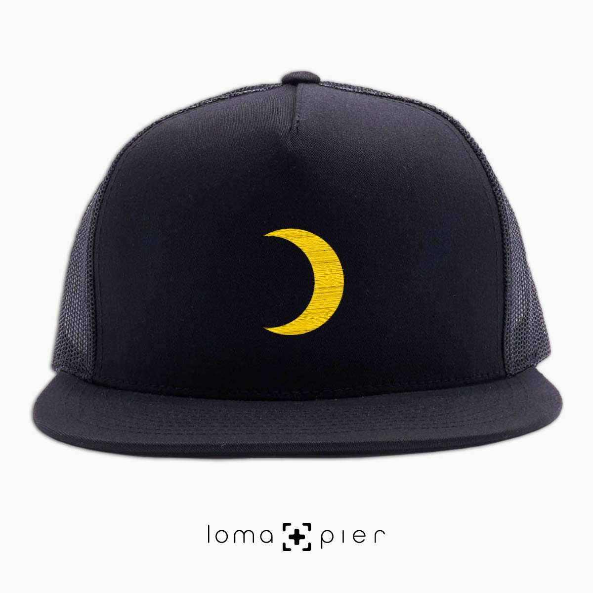 MOON icon beach netback trucker hat in black by loma+pier hat store