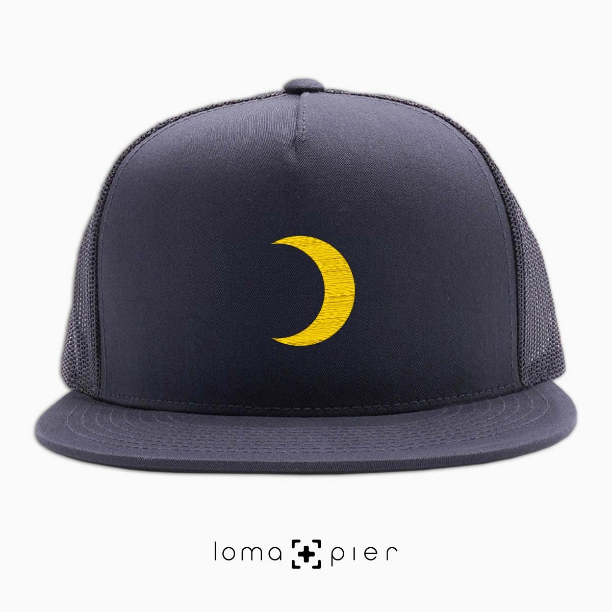 MOON icon beach netback trucker hat in charcoal by loma+pier hat store