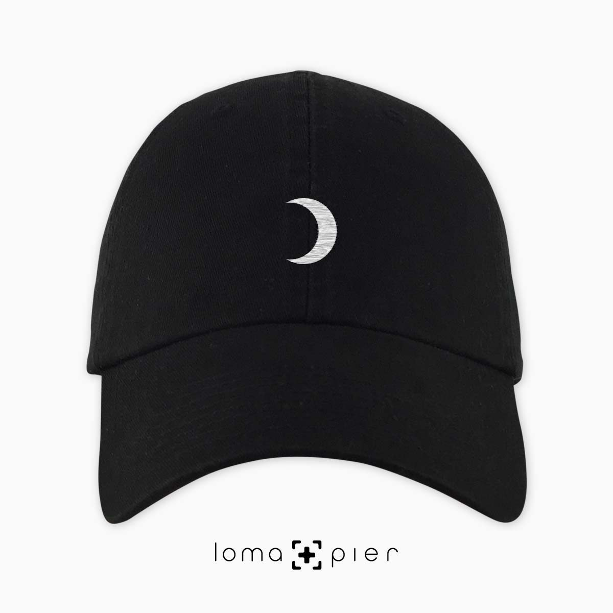 MOON icon embroidered on a black dad hat by loma+pier hat store made in the USA