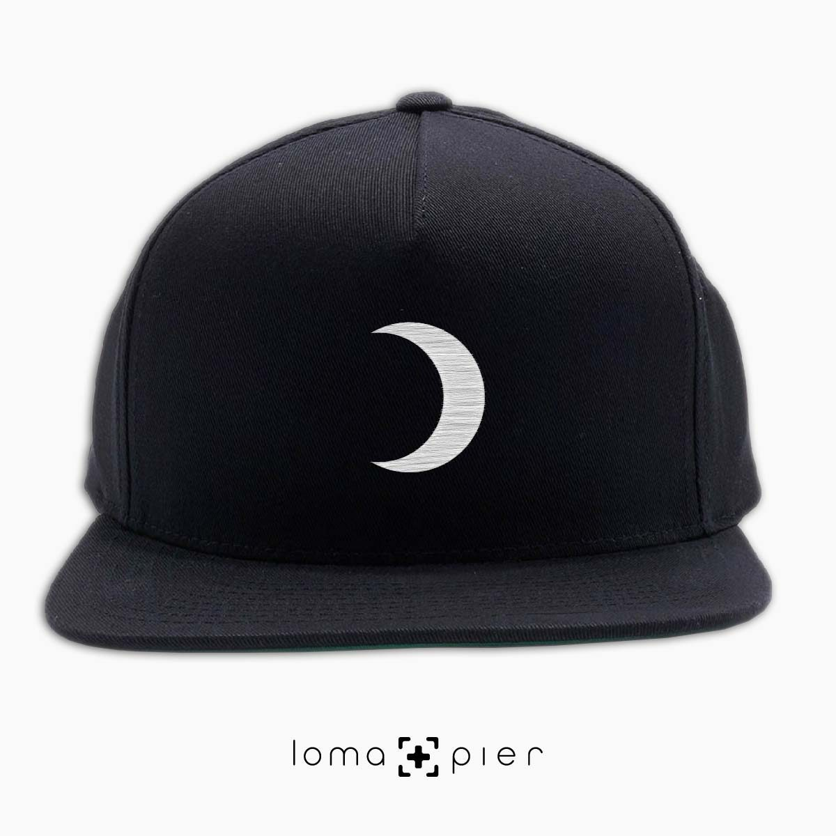 MOON icon embroidered on a black classic snapback hat by loma+pier hat store