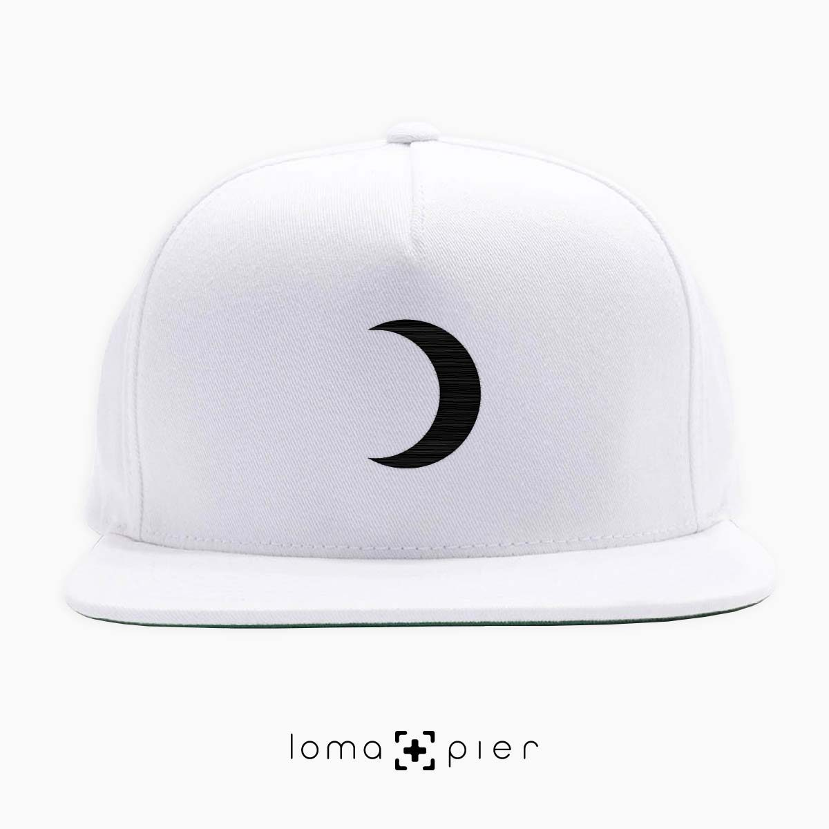 MOON icon embroidered on a white classic snapback hat by loma+pier hat store